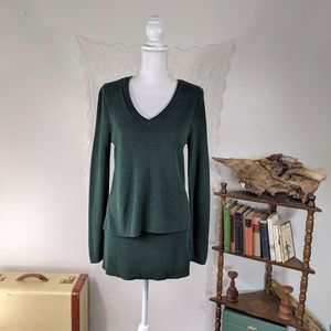 Market & Spruce layered sweater in forest green